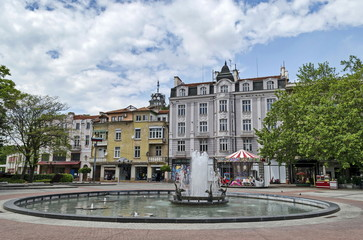 Beauty fountain  with duck in front at the center of Plovdiv town, Bulgaria, Europe