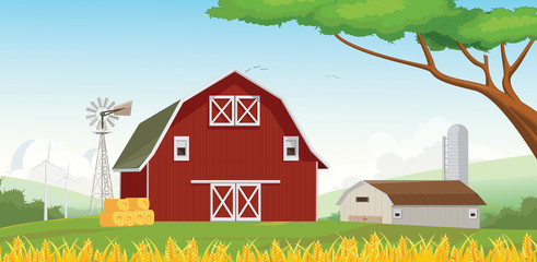illustration of Countryside Red Farm barn With Blue Sky