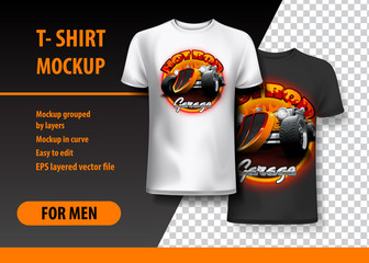 T-Shirt template, fully editable with Vintage Hot Rod logo in two colors. EPS 10 Vector Illustration.