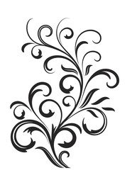 Abstract fancy flowers, stencil, decoration for card, window, door glass, sign.