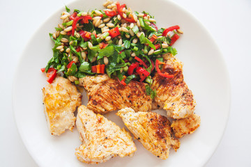 chicken chops and green salad on plate