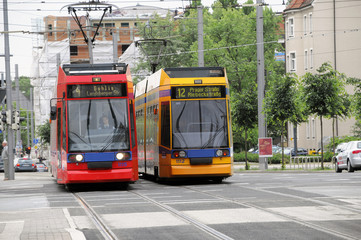 Straßenbahnen der Linie 4 und 12, Leipzig, Sachsen, Deutschland, Europa