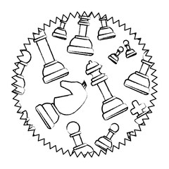 seal stamp with chess pieces pattern over white background, vector illustration