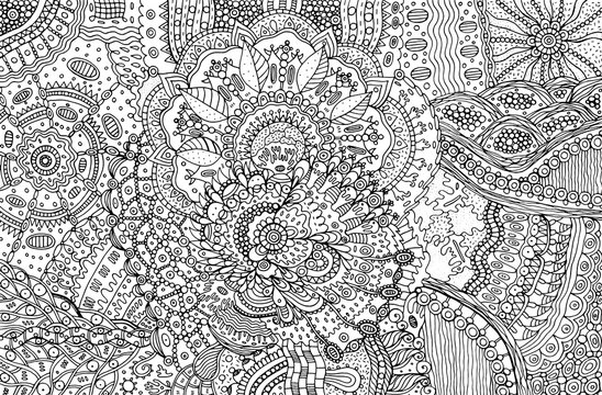 Coloring page for adults with abstract doodle background. Cartoo