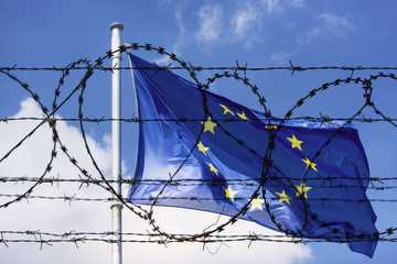 EU Flag and fence with barbed Wire concept Picture