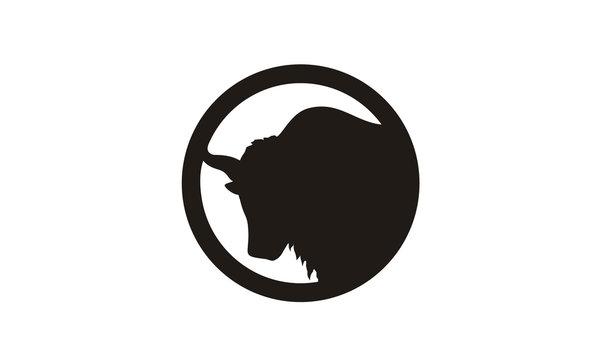 Yak Head Silhouette logo design inspiration