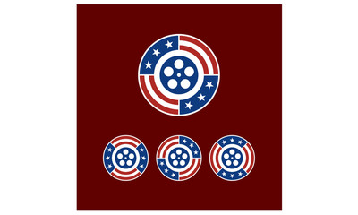 Round American Flag Ribbon with Film Reel Logo Design inspiration
