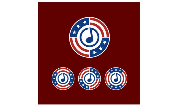 Round American Flag Ribbon with Music Note Logo Design inspiration