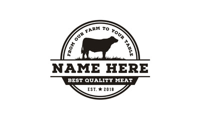 Vintage Cattle / Beef Label Emblem logo design inspiration