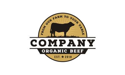 Vintage Cattle / Beef Label Emblem logo design inspiration