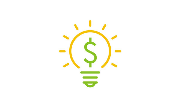 Profit Solution logo design inspiration using light bulb and currency