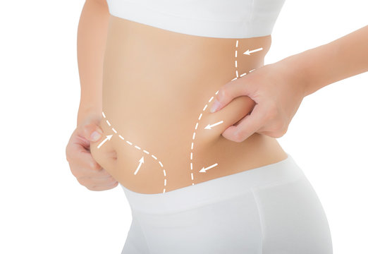 Close up woman grabbing skin on her hip and belly with the drawing arrows, Lose weight and liposuction cellulite removal concept, Isolated on white background.
