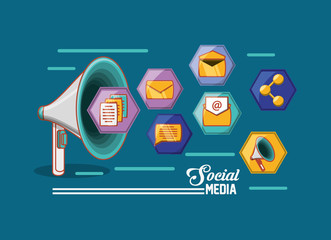 megaphone with social media related icons around over blue background, colorful design. vector illustration