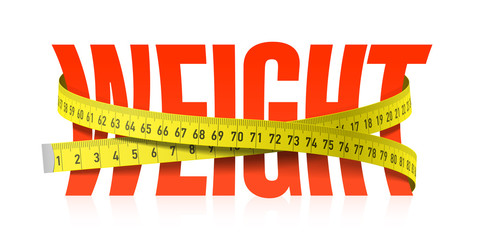 Weight word with measuring tape, diet theme