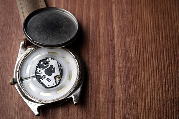 old electronic wristwatch worn and dirty