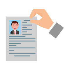 hand with curriculum vitae and photo of man isolated icon icon vector illustration design