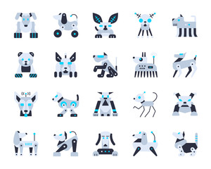 Robot Dog cute simple flat color icons vector set