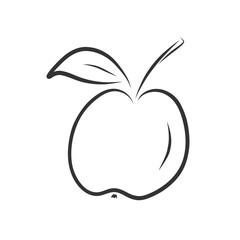 Hand drawn apple sketch icon isolated on white background.