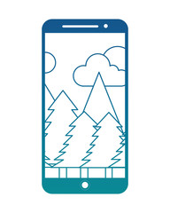 smartphone device with image of landscape and pine trees vector illustration design