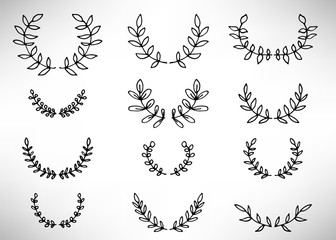 Black thin line wreath of hand drawn branches and leaves isolated on white background. Floral round frame. Laurel. Vector illustration.