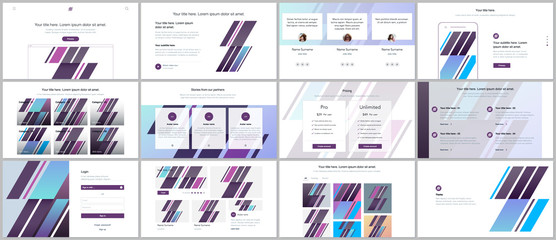 Set of vector templates for website design, minimal presentations, portfolio. UI, UX, GUI. Design of headers, dashboard, contact forms, features page, pricing, testimonials, e-commerce page, blog etc Wall mural