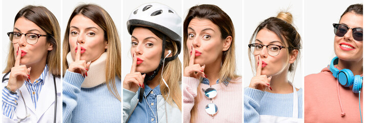 Cool woman, different professions with index finger on lips, ask to be quiet. Silence and secret concept