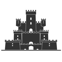 Old fairytale Medieval castle on the hill isolated on white. Tower building, architecture ancient history. Flat vector illustration