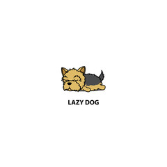 Lazy dog, cute yorkshire terrier puppy sleeping icon, logo design, vector illustration