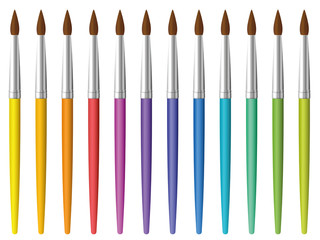 Paint brushes. Set of twelve rainbow colored paintbrushes - vector on white background.