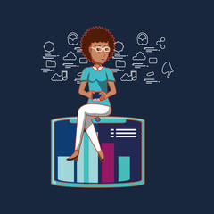 cartoon woman with social media related icons over blue background, colorful design. vector illustration