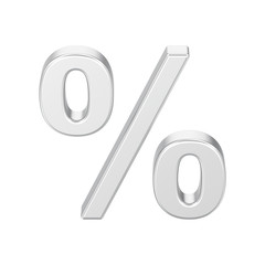 3D illustration isolated silver percent