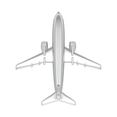 3D illustration isolated silver airplane
