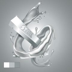 Splash Steel around Bar. Realistic 3D image