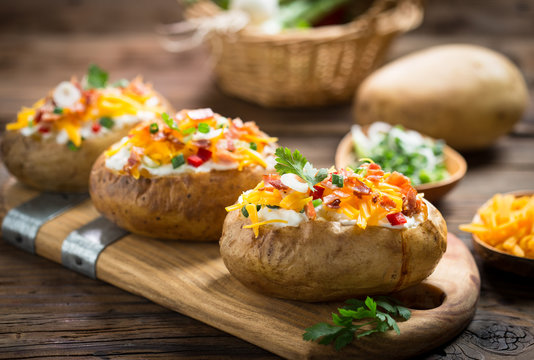 Baked potatoes with cheese and bacon