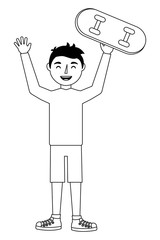 young man happy raised arms with skateboard vector illustration
