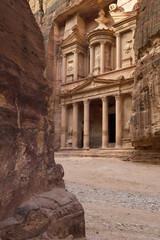 view to treasurement of old city Petra in Jordan