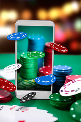 Online casino. Smartphone and poker application.