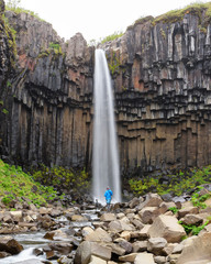 Famous Svartifoss waterfall. Another named Black fall. Located in Skaftafell, Vatnajokull National Park, Iceland