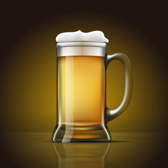 Glass of beer with foam