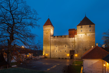 Kuressaare Episcopal Castle at night. Saaremaa island, Estonia