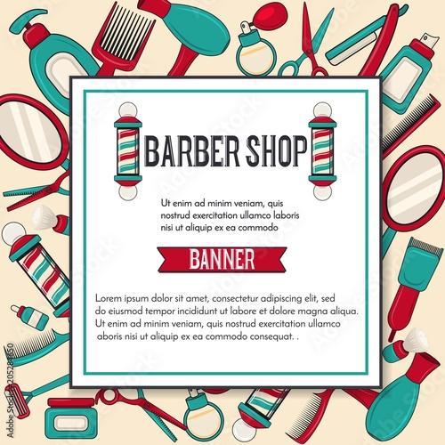 vintage barbershop vector banner design with man brooming equipments
