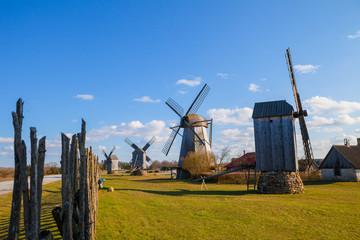 Angla windmills open air museum in Leisi Parish, Saaremaa Island, Estonia:
