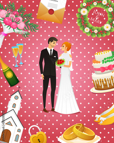 Newlyweds Card Bride And Groom Wedding Ceremony