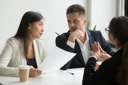 Colleagues thinking looking at each other discussing job applicant resume with female CEO, waiting for decision and thoughts. recruiting problem, reject, bad first impression, failed interview concept