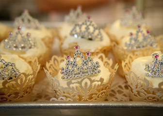 Royal Wedding Cupcakes are displayed in a case at the Magnolia Bakery in New York City