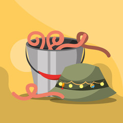 bucket with worms and hat fishing equipment vector illustration