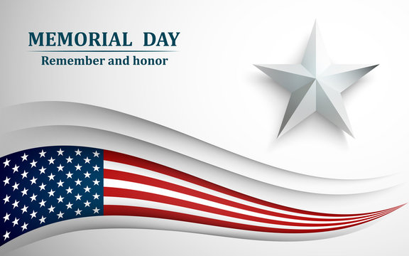 Banner for memorial day. American flag with star on gray background. Vector illustration