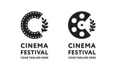 Cinema Short Film Roll Movie Festival Branch Logo Template Sign. Letter C Tape Reel Minimal Flat Icon Concept.