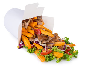 Turkish Kebab box with french fries on white background.