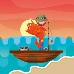 fisherman in a boat lake big fish bucket with worms vector illustration